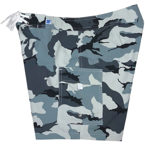 """Stealth Fanatic"" Camo Print Womens Board Shorts - Regular Rise / 7"" Inseam (Charcoal)"