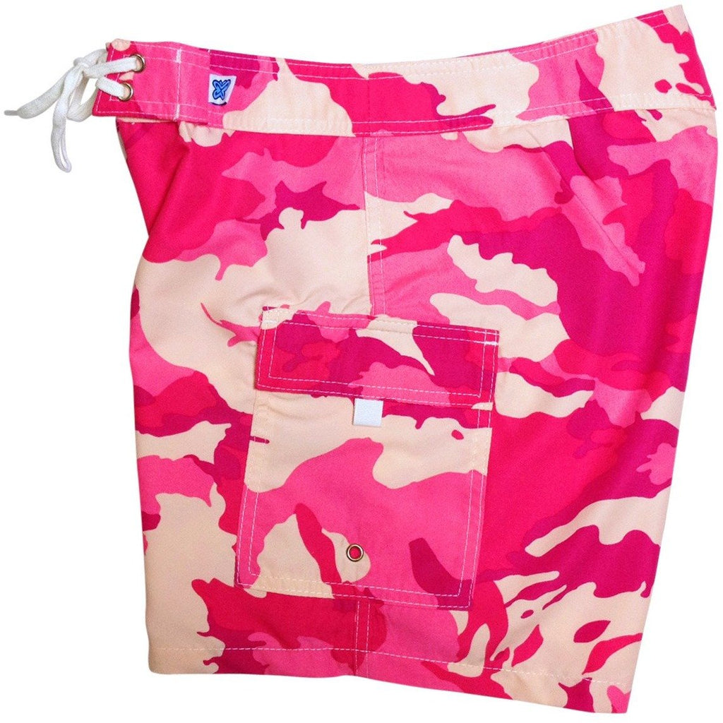 """Stealth Fanatic"" Camo Print Womens Board Shorts - Regular Rise / 7"" Inseam (Pink or Charcoal) *SALE* - Board Shorts World - 1"