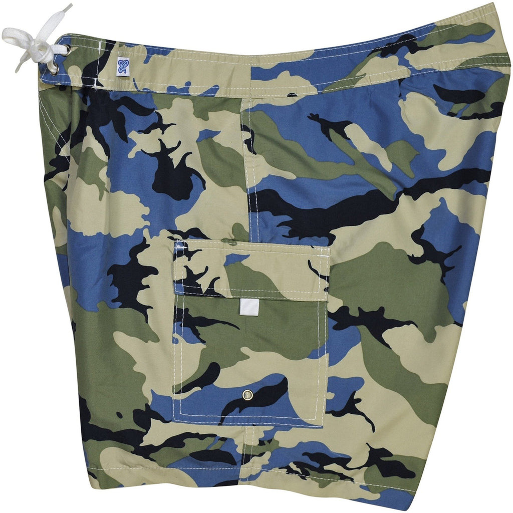 """Stealth Fanatic"" Camo Print Womens Board Shorts - Regular Rise / 7"" Inseam (Sand+Baby Blue)"
