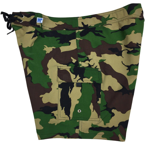 """Stealth Fanatic"" Camo Print Womens Board Shorts - Regular Rise / 7"" Inseam (Traditional)"