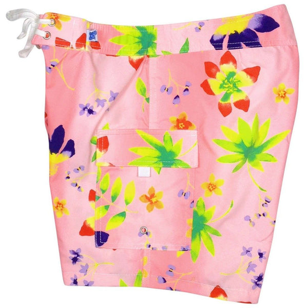 """Watercolors"" Womens Board Shorts - Regular Rise / 7"" Inseam (Pink or White) - Board Shorts World - 1"
