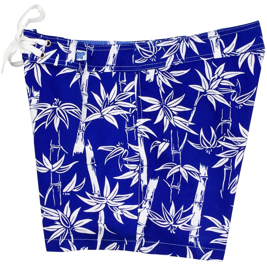 """Branch Out"" Bamboo Print Board Shorts - Regular Rise / 5"" Inseam (Royal, Black, or Navy) - Board Shorts World - 1"