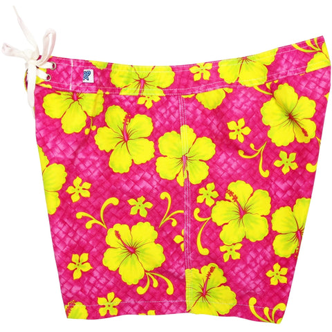 """Basketweave"" Girls Board Shorts - 5"" Inseam (Pink, Charcoal, Royal, or Turquoise) - Board Shorts World - 1"