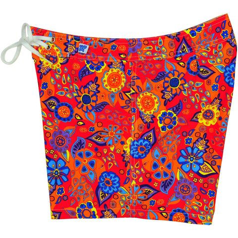 "Fixed (Non Elastic) Waist Womens Board Shorts ""Carnival"" (Red) * CUSTOM *"