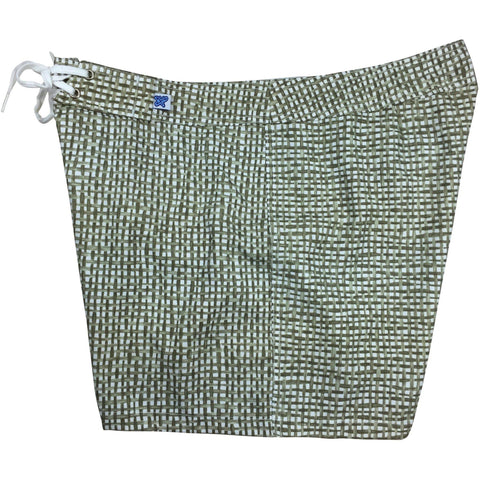 """Dream Weaver"" Check Print Board Shorts - Regular Rise / 5"" Inseam (Green)"