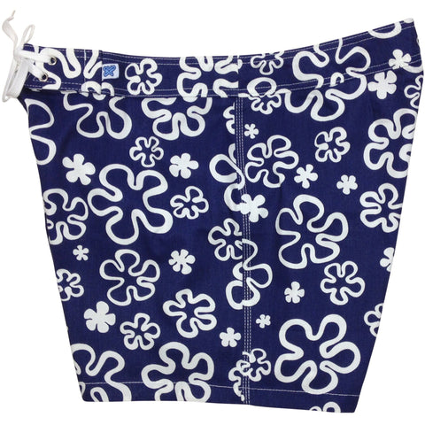 """Flower Power"" 100% Cotton Canvas Board Shorts - Regular Rise / 5"" Inseam (Blue) - Board Shorts World"