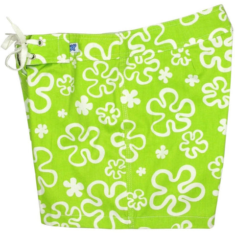 """Flower Power""  100% Cotton Canvas Board Shorts - Regular Rise / 5"" Inseam (Green) - Board Shorts World"
