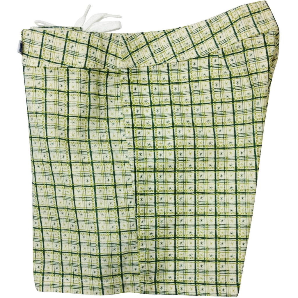 """Jetson Plaid"" 100% Cotton Dobby Board Shorts - Regular Rise / 5"" Inseam (Green) *SALE* - Board Shorts World"