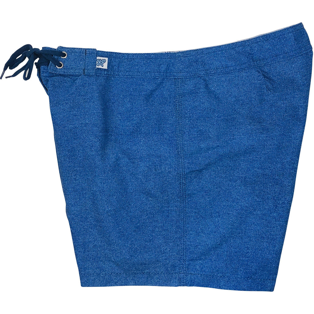 """A Solid Color"" Women's (Swim) Board Shorts - Regular Rise / 5"" Inseam (Denim)"