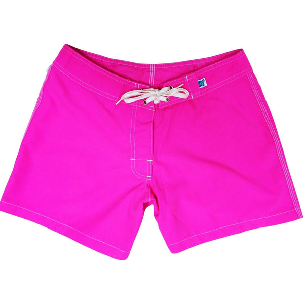 """A Solid Color"" Women's (Swim) Board Shorts - Regular Rise / 5"" Inseam (Hot Pink, Dark Pink, Light Pink or Baby Pink) - Board Shorts World - 1"