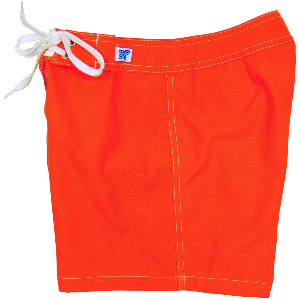 """A Solid Color"" Women's (Swim) Board Shorts - Regular Rise / 5"" Inseam (Orange, Royal, Cinnamon, Denim or White) - Board Shorts World - 1"