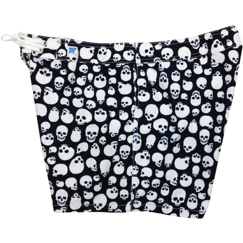 """Live to Ride"" Skulls Print Girls Board (Swim) Shorts - 5"" Inseam (Black+White) - Board Shorts World"