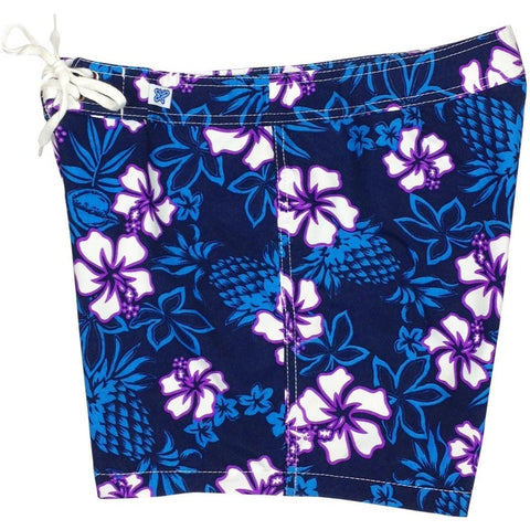 """North Shore"" Girls Board Shorts - 5"" Inseam (Indigo+Grape, Key Lime+Blue, or Red+Navy) - Board Shorts World - 1"