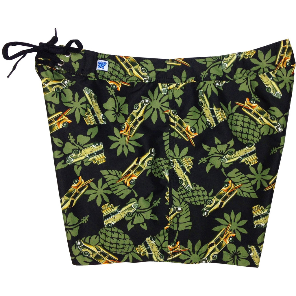 """One for the Road"" Woodie Cars Womens Board Shorts - Regular Rise / 5"" Inseam (Olive, Red, or Blue) - Board Shorts World - 1"
