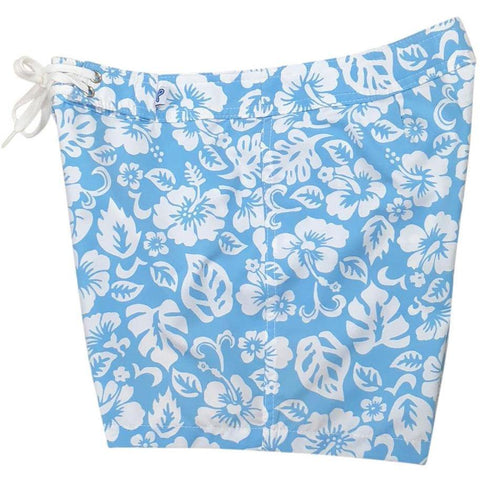 """Pure Hibiscus Too"" Board Shorts - Regular Rise / 5"" Inseam (Baby Blue)"