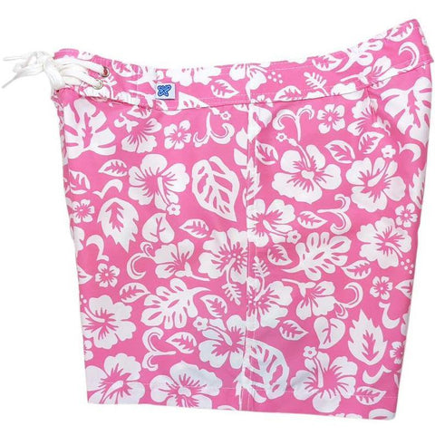 """Pure Hibiscus Too"" Board Shorts - Regular Rise / 5"" Inseam (Pink) *SALE*"
