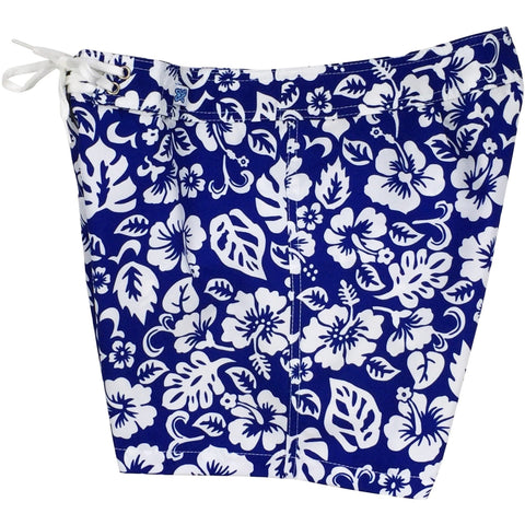 """Pure Hibiscus Too"" Board Shorts - Regular Rise / 5"" Inseam (Royal, Baby Blue, Key Lime, Orange or Pink) - Board Shorts World - 1"