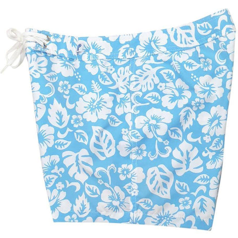 """Pure Hibiscus Too"" Board Shorts - Regular Rise / 5"" Inseam (Sky) *SALE*"