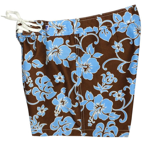 """Pure Hibiscus"" Girls Board Shorts - 5"" Inseam (Brown+Blue or Brown+Pink) - Board Shorts World - 1"