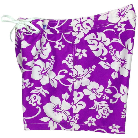 """Pure Hibiscus"" Girls Board Shorts - 5"" Inseam (Purple, Black, or Navy) - Board Shorts World - 1"