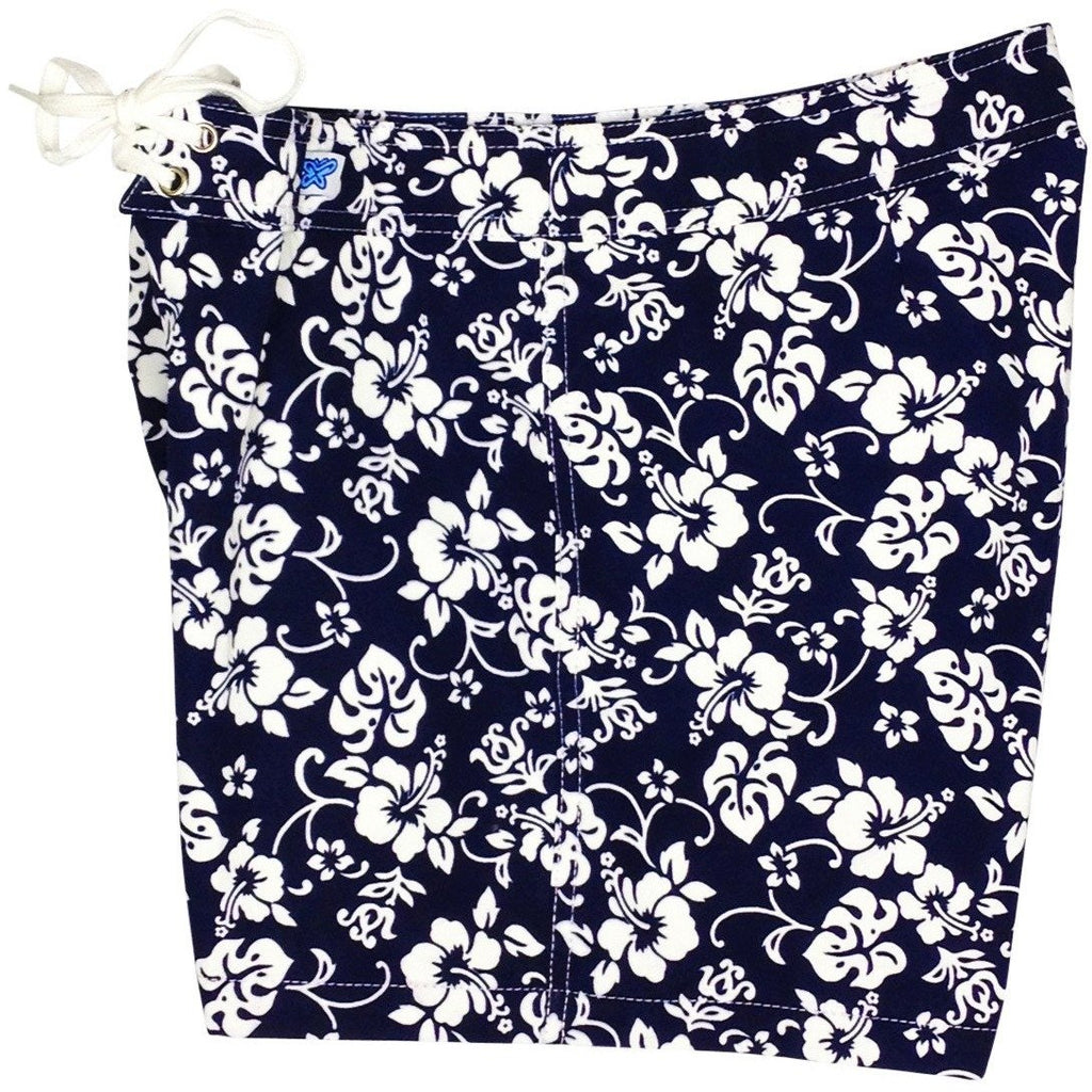 """Pure Hibiscus Mini"" Board Shorts - Regular Rise / 5"" Inseam (Navy or Red) - Board Shorts World - 1"