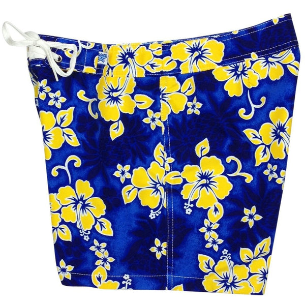 """Pina Colada"" Board Shorts - Regular Rise / 5"" Inseam (Blue+Yellow or Fire) - Board Shorts World - 1"