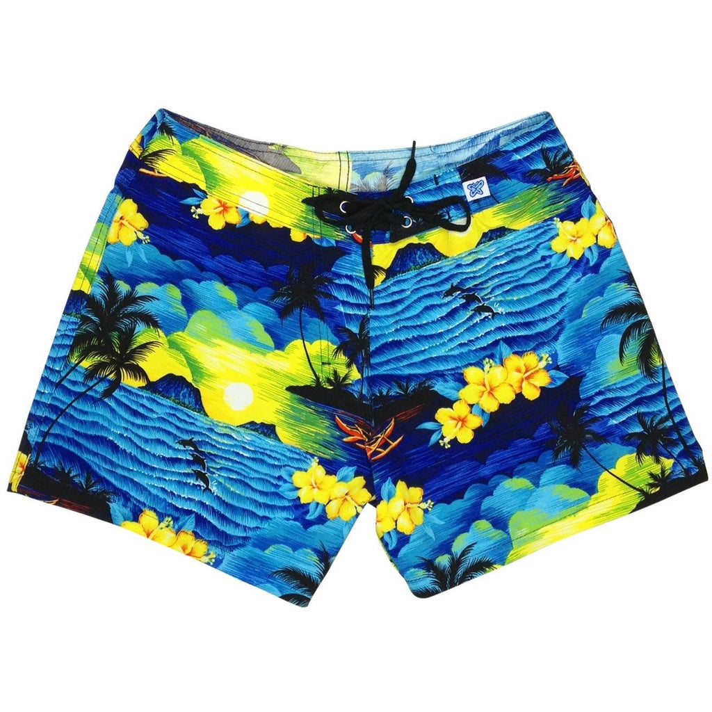 """Picture This"" Girls Board Shorts - 5"" Inseam (Blue) - Board Shorts World"
