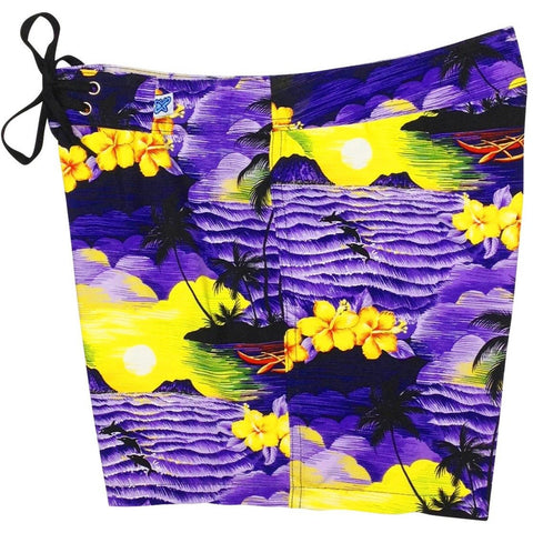 """Picture This"" Board Shorts - Regular Rise / 5"" Inseam (Purple) - Board Shorts World"