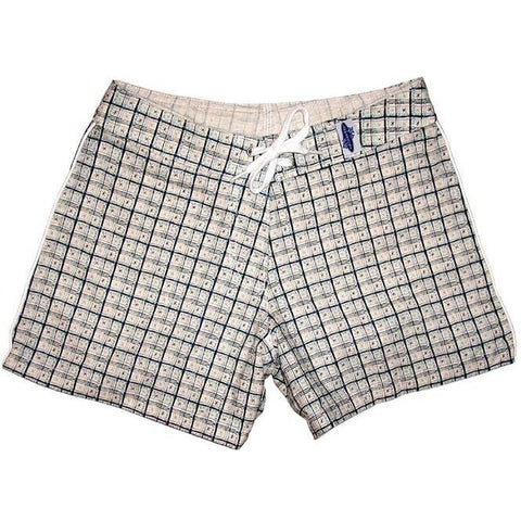 """Jetson Plaid"" 100% Cotton Dobby Board Shorts - Regular Rise / 5"" Inseam (Blue) * SALE* - Board Shorts World"