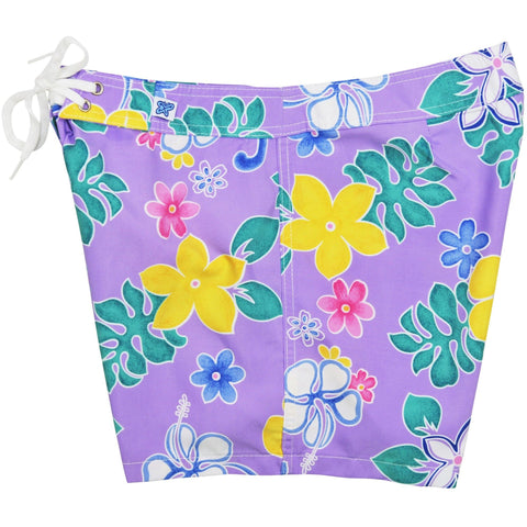 """Spring Fling"" Board Shorts - Regular Rise / 5"" Inseam (Purple, Yellow, Red, or Turquoise) *SALE* - Board Shorts World - 1"