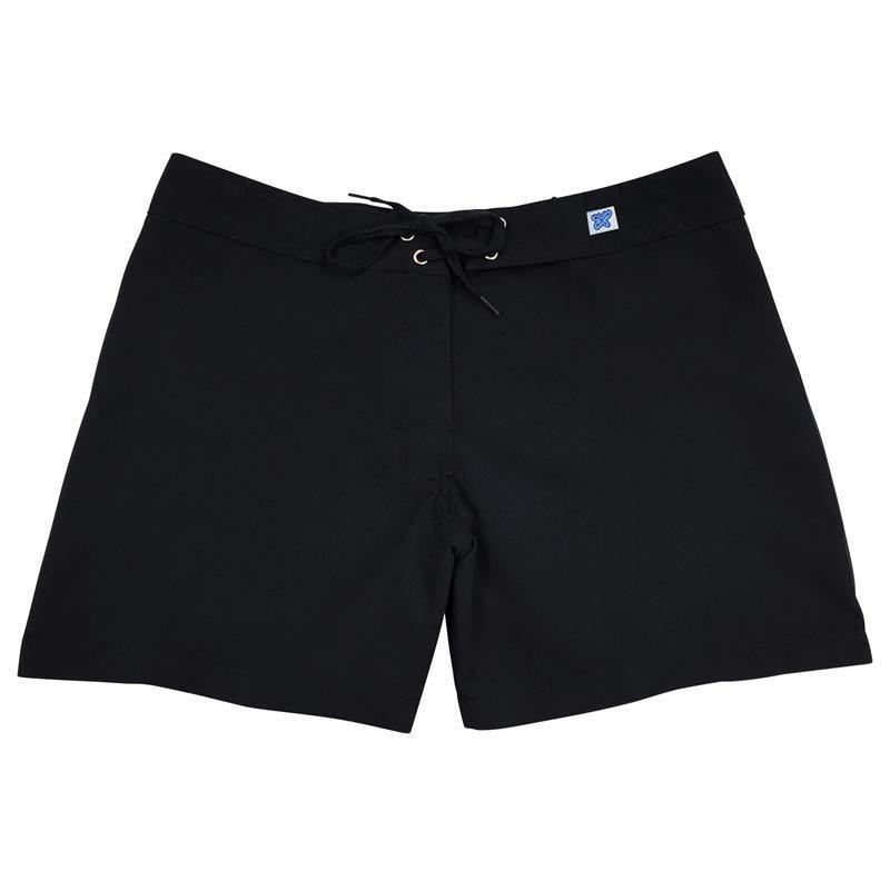 """A Solid Color"" Women's (Swim) Board Shorts - Regular Rise / 5"" Inseam (Black+Black Stitching)"