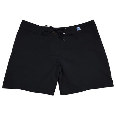 """A Solid Color"" BEST SELLING Women's (Swim) Board Shorts - Regular Rise / 5"" Inseam (Black+Black Stitching) - Board Shorts World"