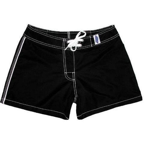 """A Solid Color"" Women's (Swim) Board Shorts - Regular Rise / 5"" Inseam (Black+White Stitching)"