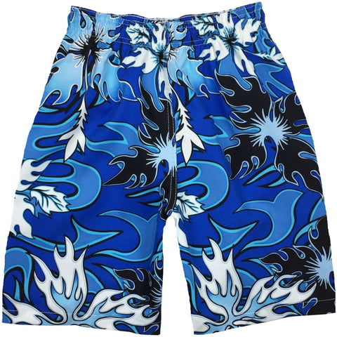 """Circuit Breaker"" Boys Swim Trunks with Mesh Liner - 7"" Inseam / 18"" Outseam (Blue or Olive) - Board Shorts World - 1"