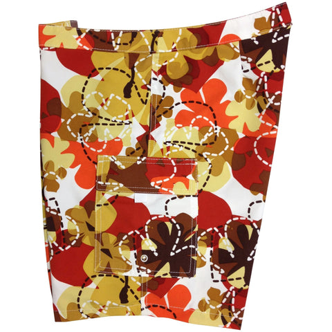 "Lower Rise NON-Elastic Waist Board Shorts. ""Bee Line"" (Red) Womens CUSTOM"