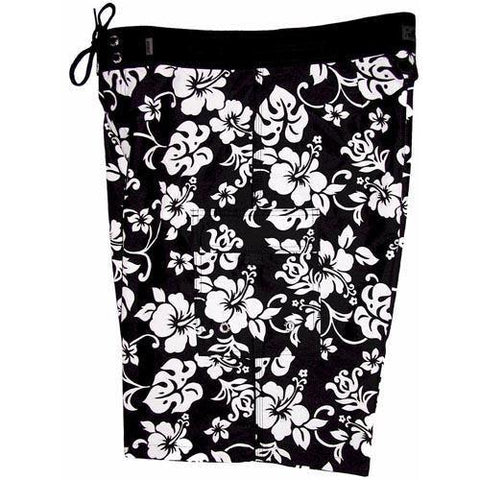 """Pure Hibiscus"" (Black) Double Cargo Pocket Board Shorts (Select Custom Outseam 22"" - 27"") *SALE*"
