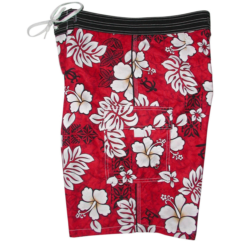 """Tribal Council"" Mens Board Shorts - 22"" Outseam / 9.5"" Inseam (Red) - Board Shorts World - 1"