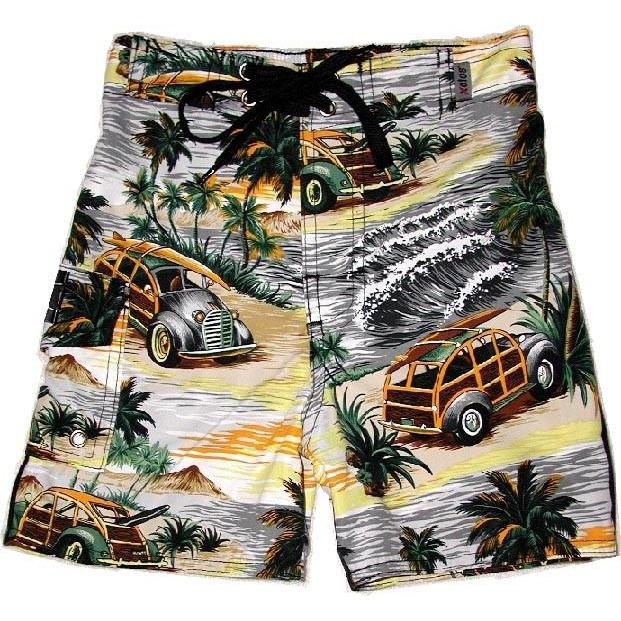 """Getaway Car"" Toddler Board Short (Charcoal or Sea Teal) - Board Shorts World - 1"