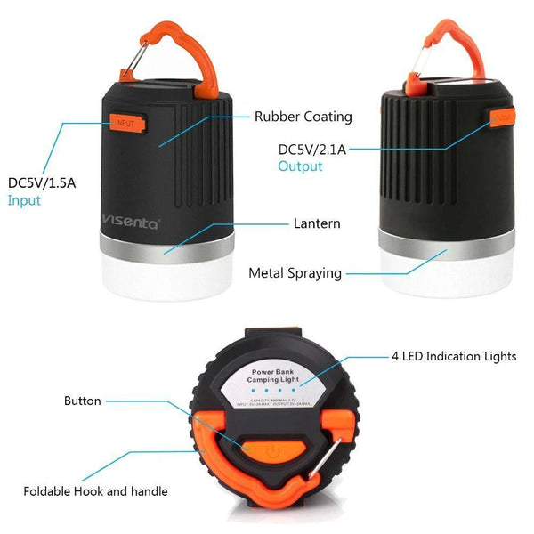 Visenta 2-in-1 LED Camping flashlight Lantern (One Charge up to 84hrs,Capacity:8800mAh) + Power Bank, 4 Modes, Rechargeable Emergency Lantern for Backpacking Hurricanes Hiking Camp Fishing Outages …