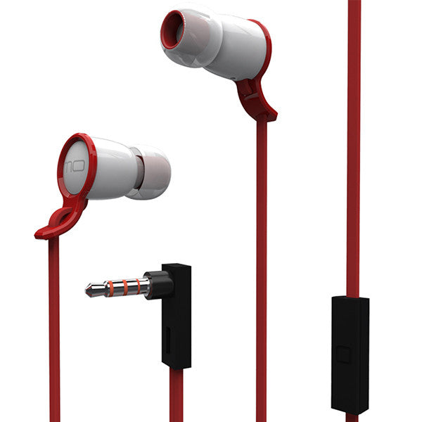 Visenta® MO Q Premium Stereo In-ear Headphone, Noise-isolating Earbud/Headset, High Stereo Performance Earphones with Mic and Flat Cable (Red/White)