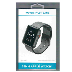 Black Woven Nylon Band for 38MM Apple Watch - WithItGear Premium Quality USA