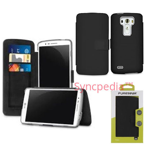 Black PureGear Folio Card Case for LG G3 - Leather Like Wallet Cover 60698PG USA