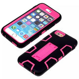 Pink & Black Kickstand Case for Apple iPhone 6 & 6s - Moukou Heavy Duty Cover US