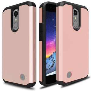 Rose Gold Hard Case for LG Aristo MS210 Phone - Hybrid Armor Pink Cover USA