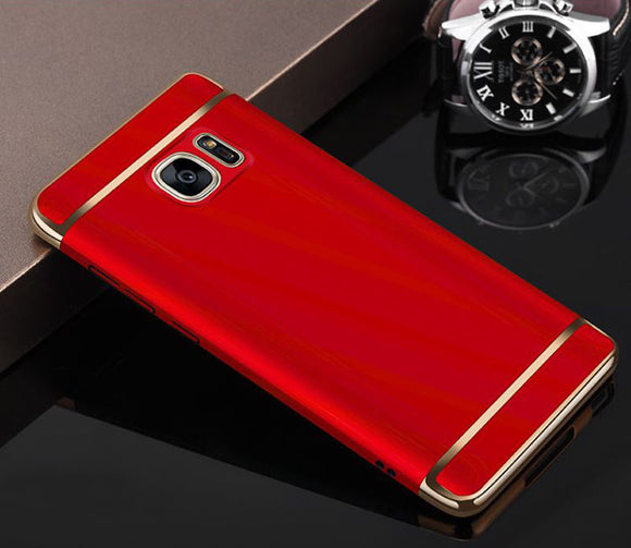 Red Metal Hard Case for Samsung Galaxy C7 Phone - Rubberized Shockproof Armor US