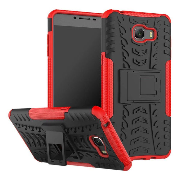 Red & Black Kickstand Case for Samsung Galaxy C9 Pro - Grenade Grip Armor USA