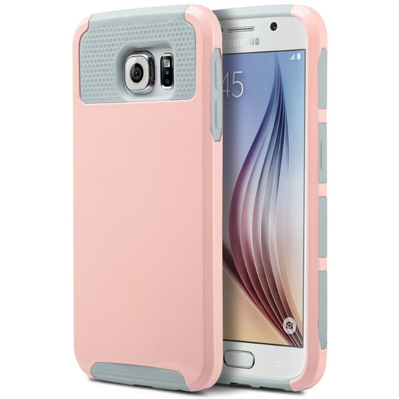 Pink Hard Case for Samsung Galaxy S6 Edge - Heavy Duty Rugged Hybrid Cover USA