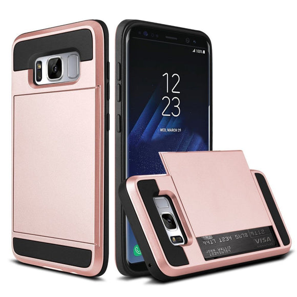 Rose Gold Credit Card Slot Case for Samsung Galaxy S8 - Rugged Hybrid Holder USA
