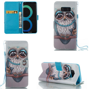 Blue & Gray Owl Wallet Case for Samsung Galaxy S8+ / S8 Plus - Leather Like USA