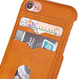 Brown Credit Card Case for Apple iPhone 7 Phone - Leather Like Back Cover USA
